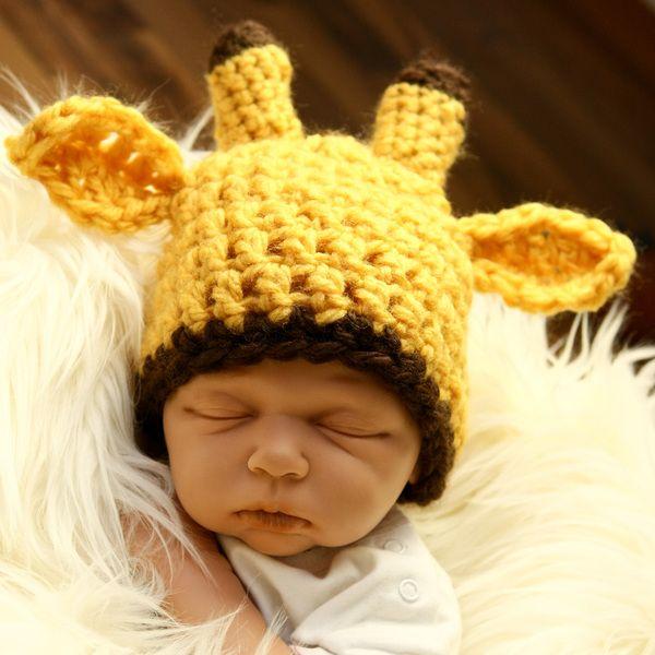 Babymütze Giraffe Gelbbraunmit Ohren Und Hörner Baby