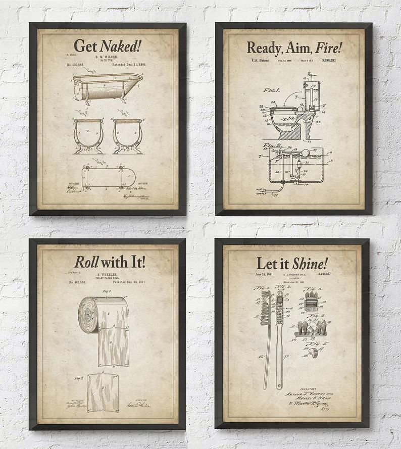 Bathroom Patent Wall Art Prints with Slogans, Set of 4 ...