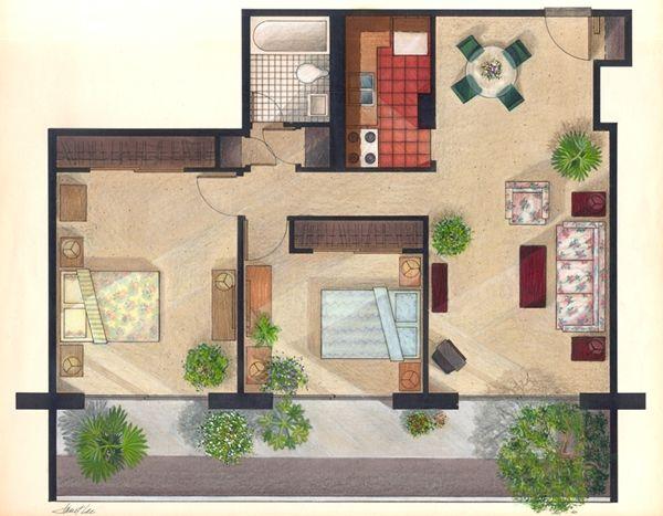 600 aptfloorplan 0600 245k smart stuff pinterest for Rendered floor plan