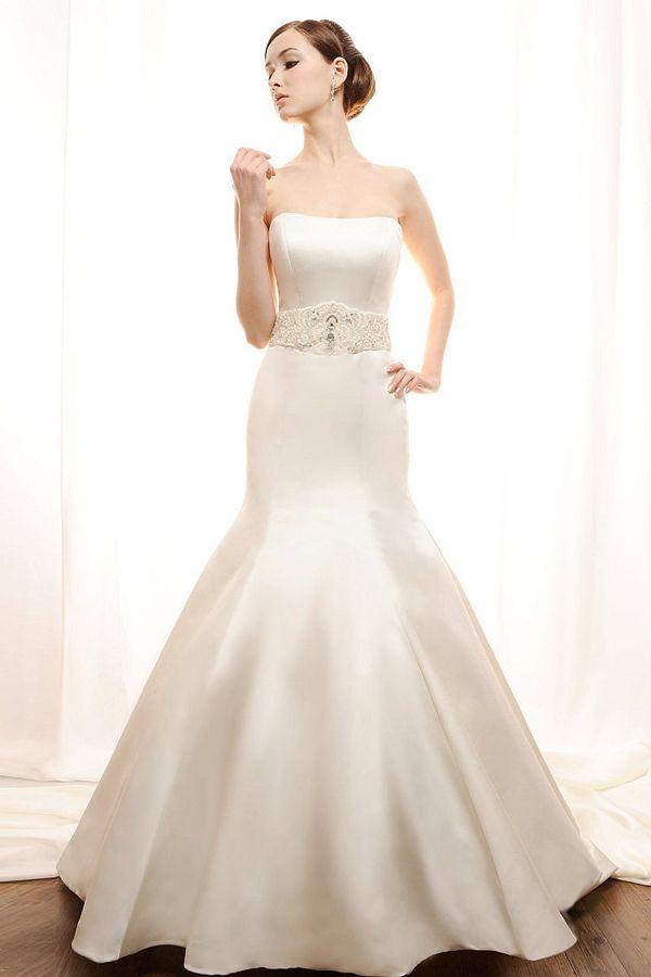 sleek wedding dress | Home > Sleek Trumpet/Mermaid Strapless Satin Wedding Dress with Beaded ...