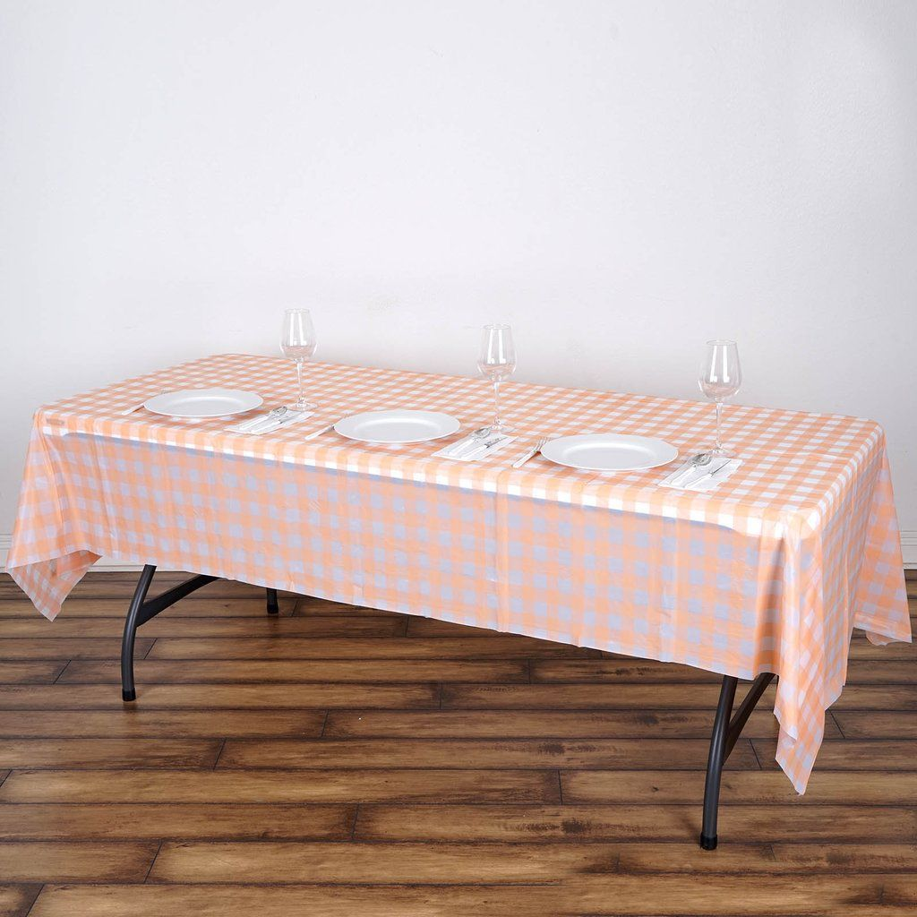 Buffalo Plaid Tablecloth 54 X 108 Rectangular Spill Proof Tablecloths Blush White Disposable Checkered Plastic Vinyl Waterproof Tablecloths In 2020 Plastic Table Covers Table Cloth Plastic Tables