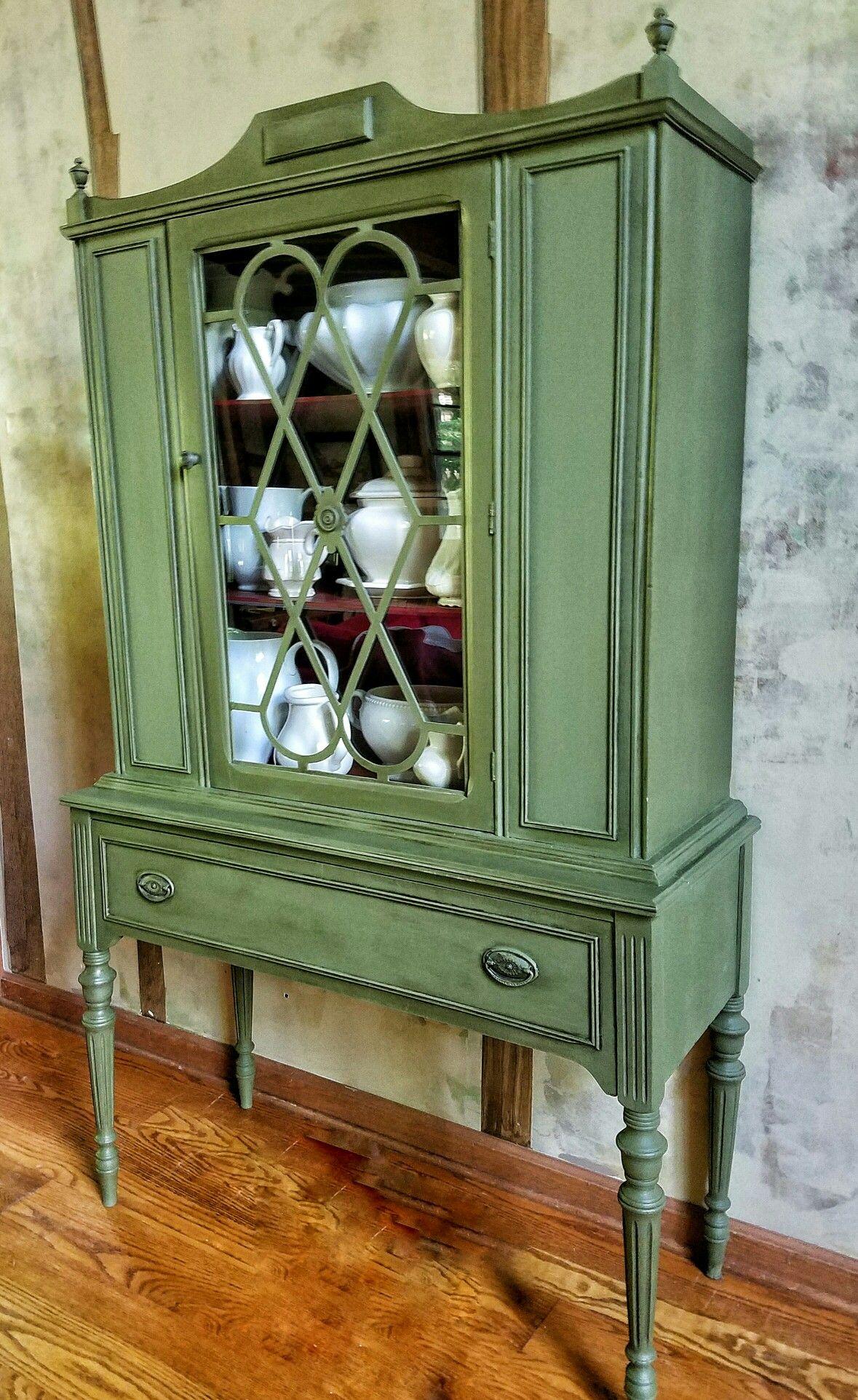 Annie Sloan Olive Emperor S Silk Interior Dark Waxed Antique Furniture Green Painted