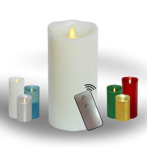 Most Realistic Moving Flame Real Wax Pillar Candle with ...