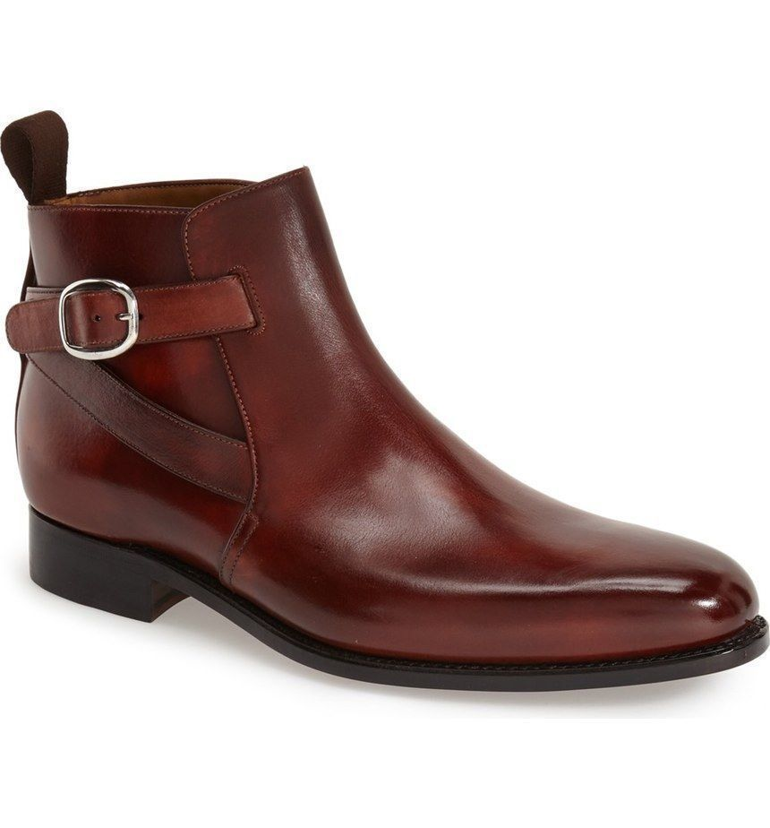 b1a15c24a22 MENS NEW HANDMADE JODHPUR STYLE REAL LEATHER BROWN ANKLE BOOTS FOR ...