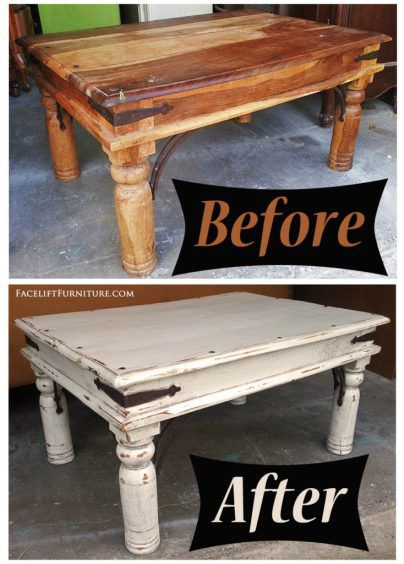 Rustic Coffee Table In Distressed Off White Before After