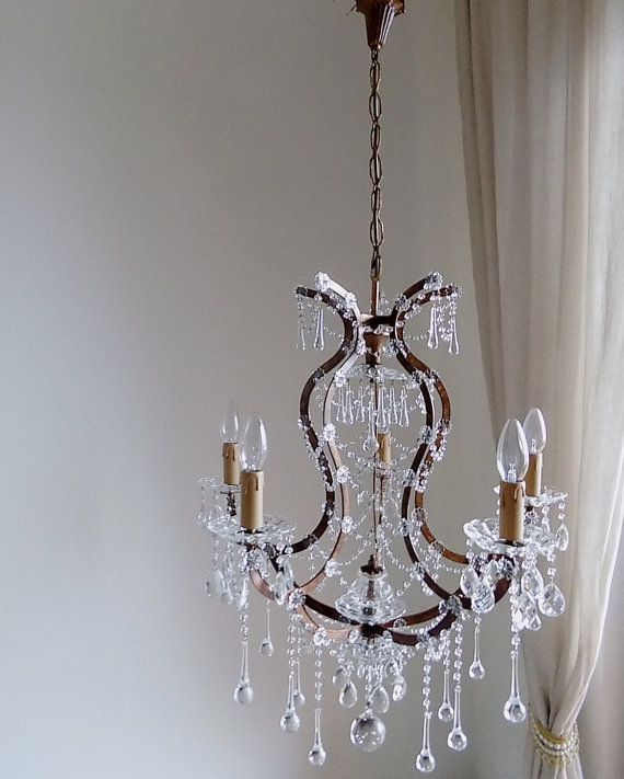 Reserved for sarah maria teresa vintage 5 arms birdcage crystal italian vintage repurposed 5 arms birdcage crystal chandelier clear murano glass crystals drops swags one of a kind mozeypictures Gallery