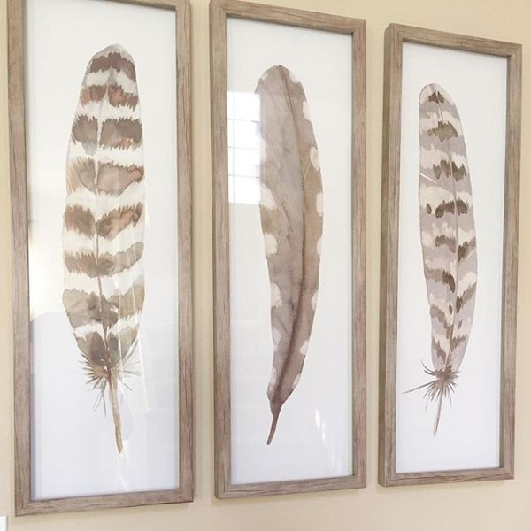 12 Quot X36 Quot Framed 3pk Feathers Threshold Art Feather