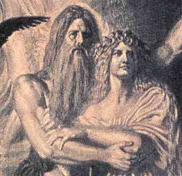 Image of Odin hugging Frigg Norse Goddess