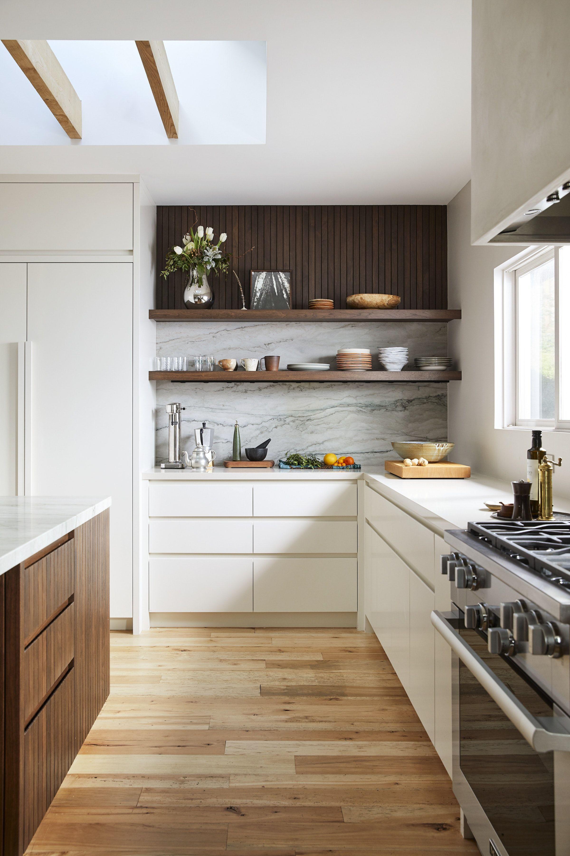 Mill Valley Scandinavian Modern Open Kitchen With Skylight Open Shelving By Bk Interior Kitchen Design Open White Contemporary Kitchen Modern Kitchen Design