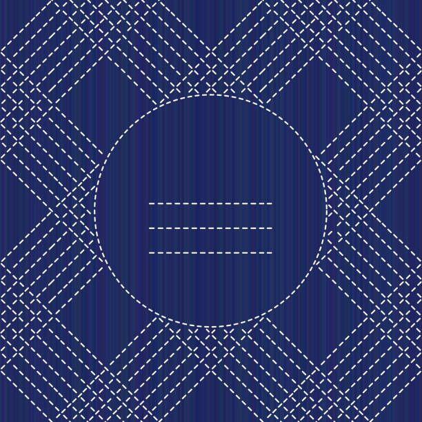 Sashiko texture with copy space. Kimono pattern. Text frame. Abstract…