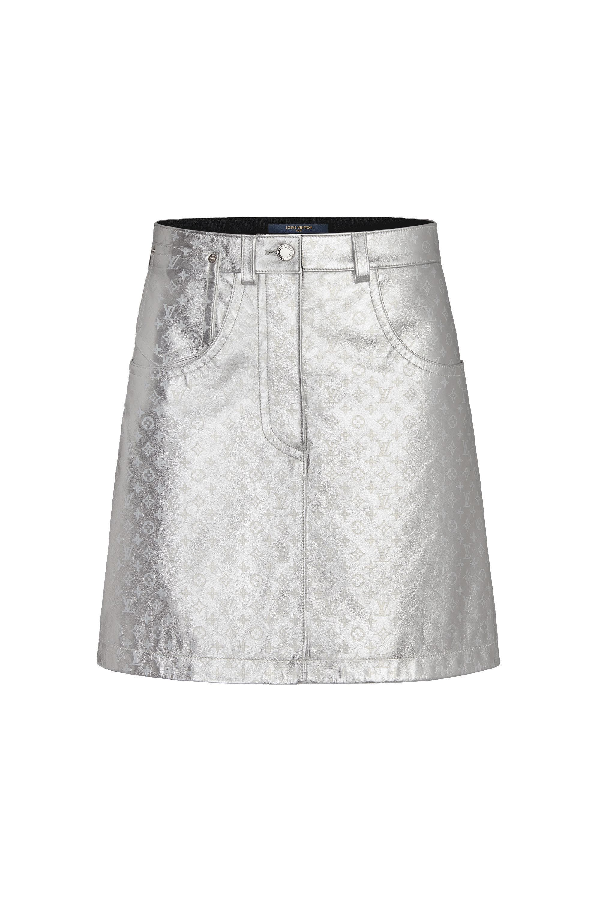 9a4cef7a56 Embossed Monogram Leather Mini Skirt in 2019   style   Mini skirts ...