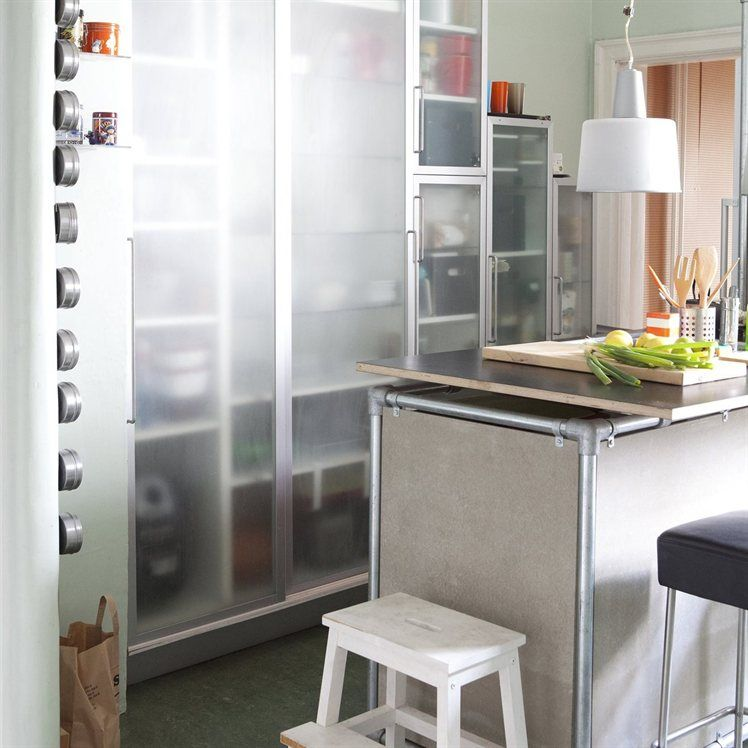 Kitchen units crafted out of old cabinets and scaffolding BEKVÄM