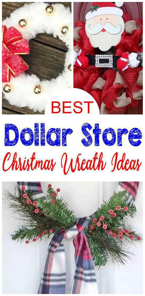 BEST Dollar Store Christmas Wreath! DIY Holiday Wreath Ideas - Learn How To Make Wreaths To Make Your Front Door Look Amazing - Dollar Store Hacks - Homemade Christmas Decor -   19 diy christmas decorations dollar store easy ideas