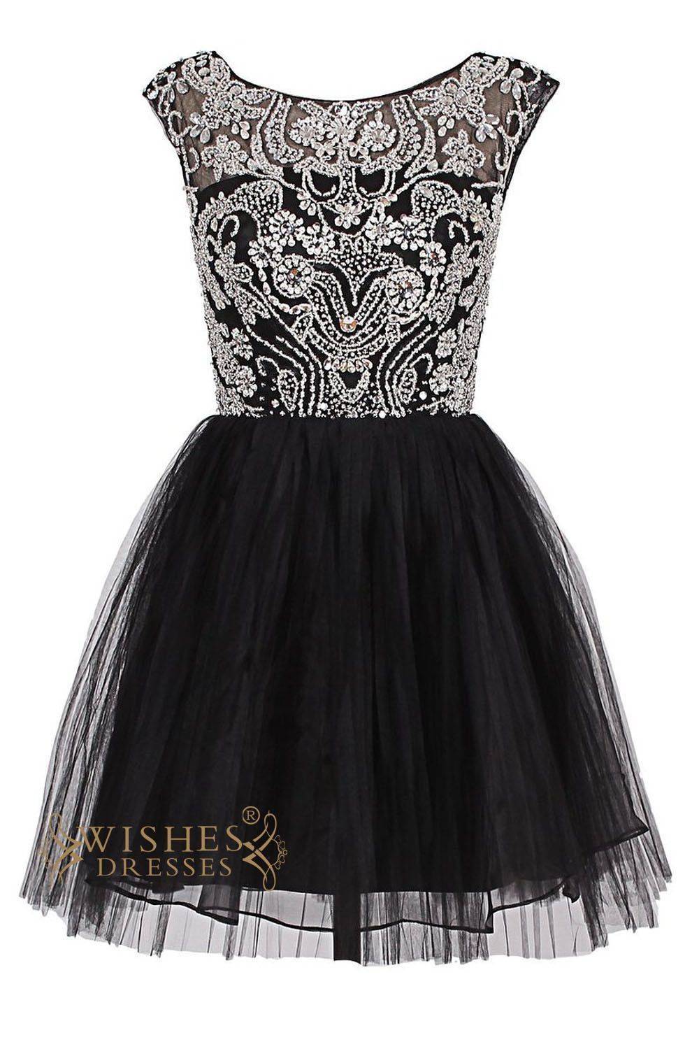 Oneck delicate beaded black short cocktail dress prom dress am