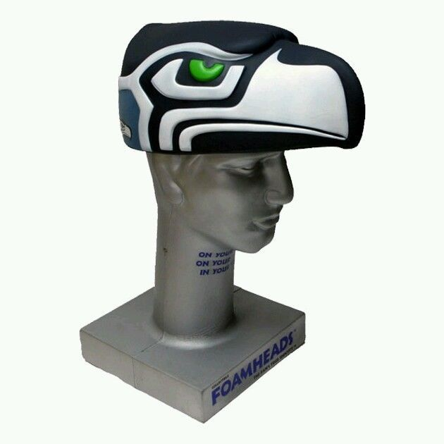 Seattle Seahawks Foamhead 3D Logo Hat Cap Brand New! FOAM HAWK HEAD  -----FOR DAD    -- 45b2a1b80
