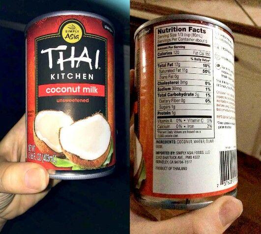 Thai Kitchen Coconut Milk   Unsweetened ... Coconut, Water, Guar Gum .