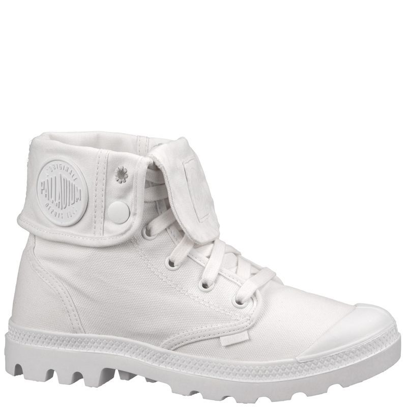 New Palladium Womens White Baggy Canvas Hi Top Fold Over