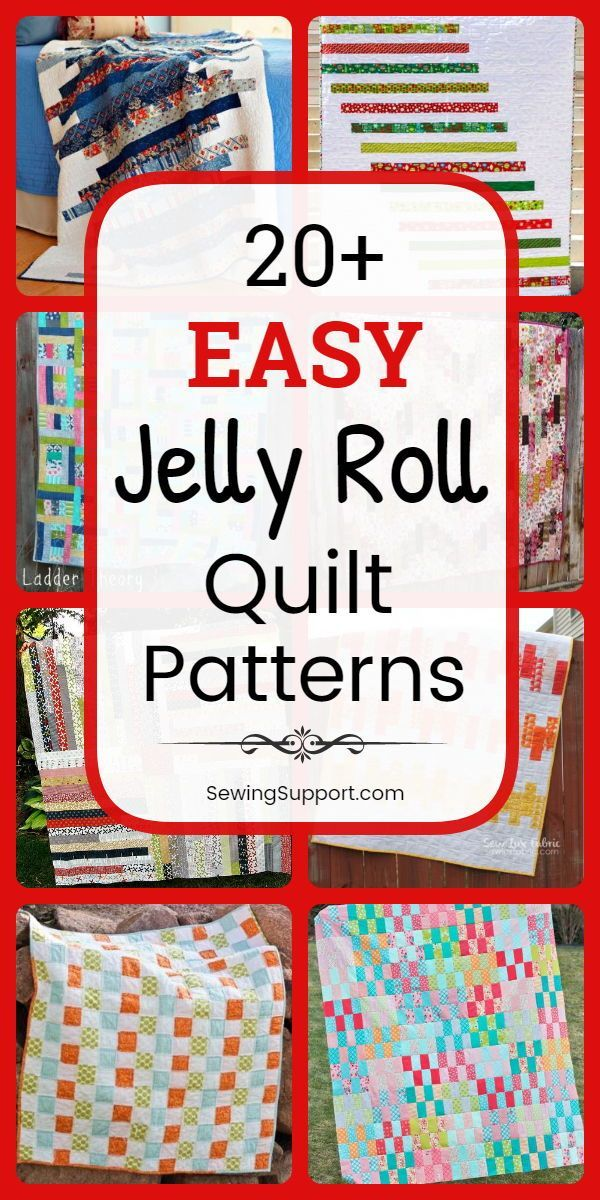 #sewingsupport #quiltpatterns #beginners #tutorials #quilting #patterns #projects #include #designs #quilts #square #enough #simple #quilt #jellyEasy Quilt Patterns: 20+ easy (and free) jelly roll quilt patterns, tutorials, and projects simple and easy enough for beginners to sew. Designs include strip, square, and race quilts. #jellyrollquilts