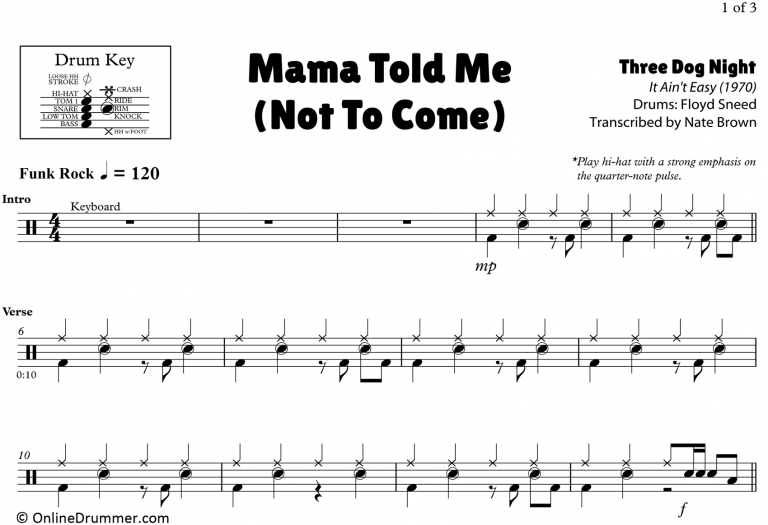 Mama Told Me Not To Come Three Dog Night Drum Sheet Music Onlinedrummer Com Drum Sheet Music Drums Sheet Sheet Music