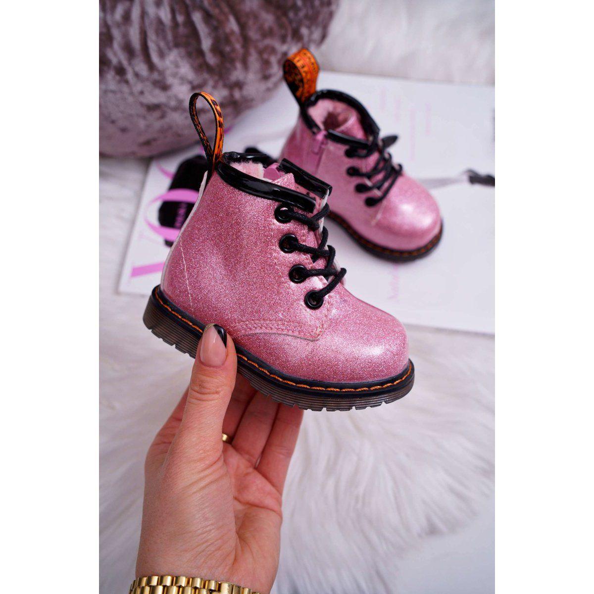 Frrock Dzieciece Botki Ocieplane Z Suwakiem Lakierowane Brokat Rozowe Mistor Combat Boots Boots Dr Martens Boots