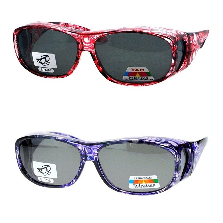 374bdc46e4d2f 2 Pair Polarized Sunglasses Fit Over Glasses Oval Rectangular Sunglasses -  Light Red Purple - CU1878OTA0E - Women s Sunglasses