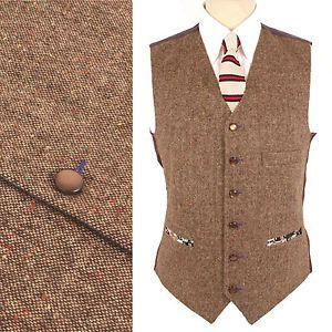 Hombre Mezcla Lana Donegal Tweed 1857 Chaleco En Marron Camiseta Vintage Chalecos Chaleco Marron Ropa De Hombre