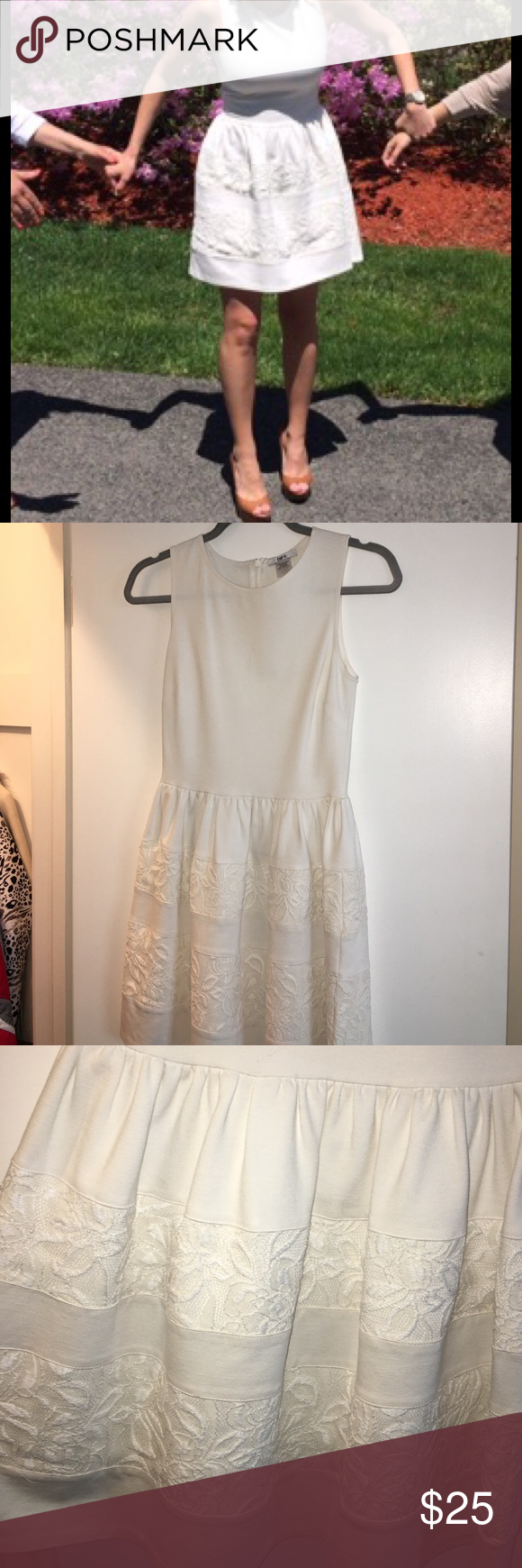 Bar III Dress Off white. Zips up with back. Smallest mark on chest. Can be removed with tide pen or shout wipe (I don't have any more or else I'd do it myself). I wore this once to graduate college in. Super cute with tan shoes ( I wore a wedge). Falls above the knee as seen in photo Bar III Dresses
