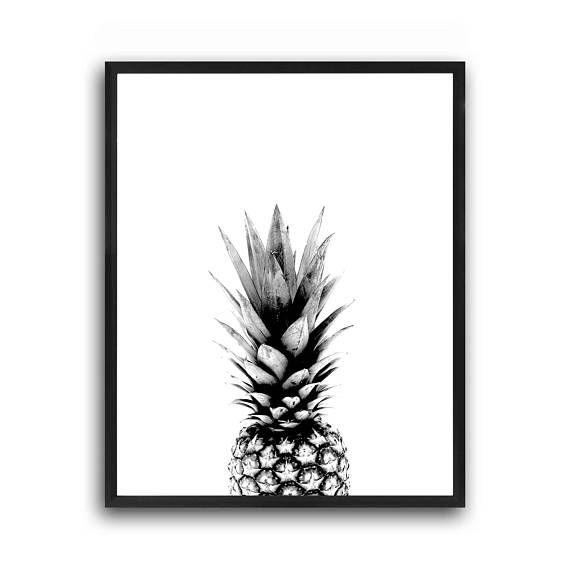 Pineapple wall art, Tropical wall art, Scandinavian print, Modern ...