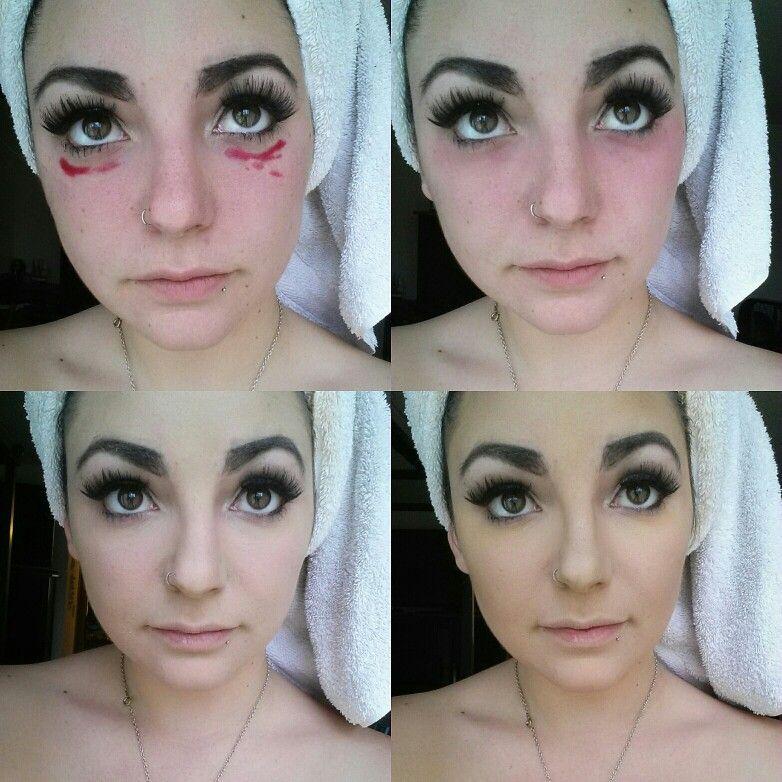 Applying red lipstick under eyes helps hide dark circles