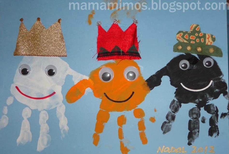 Postal de Nadal Els Reis Mags Manualidades para nios