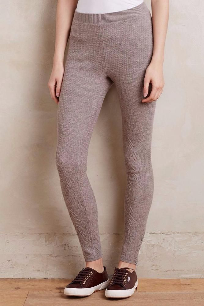 NWT Anthropologie Pointelle Sweater Leggings By Sleeping On Snow Taupe-M