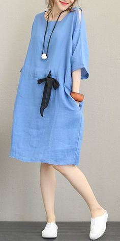 Fashion Drawstring Linen Dresses Women Casual Clothes Q1168 - #Casual #Clothes #...