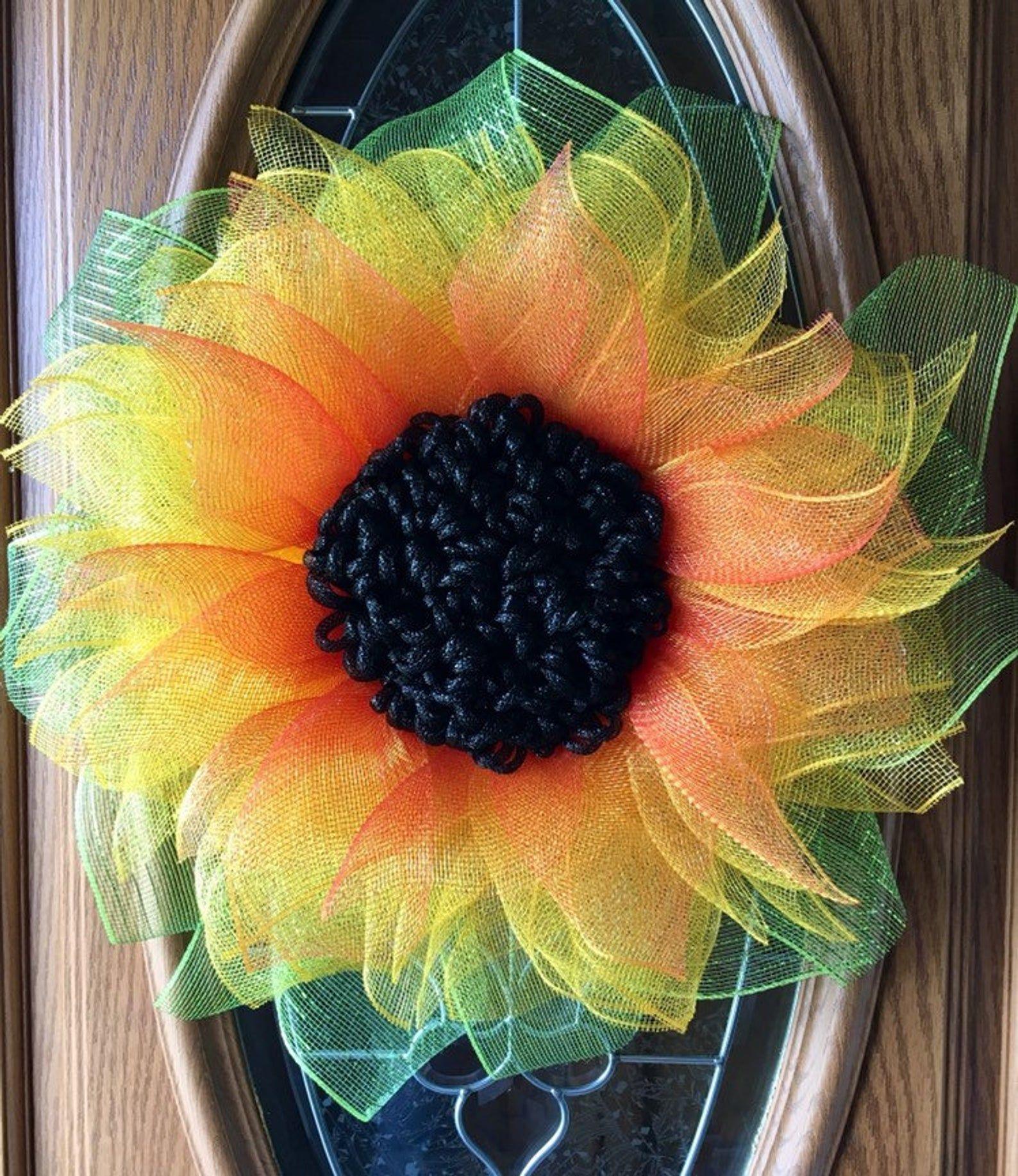 Photo of Sunflower wreath, mesh sunflower wreath, spring wreath, summer wreath