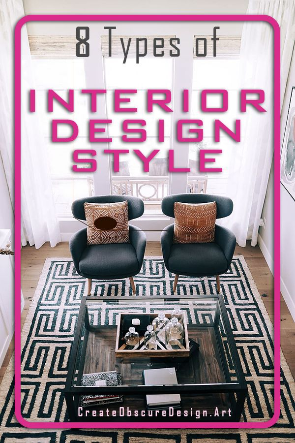 8 popular types of interior design styles and how to implement them in your home. Each type has some characteristics can define your home. #bohodesign #bohointerior #interiordesign #interiordesigntips #homedecorideas #livingroom