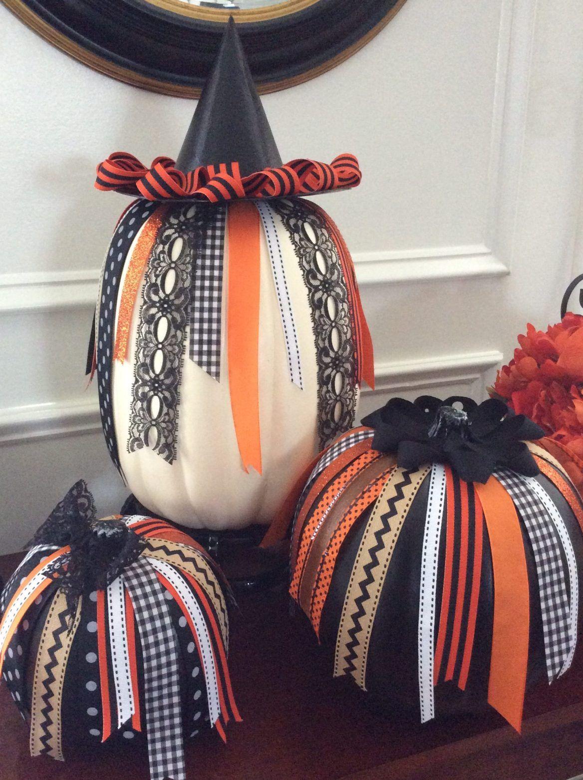 DIY No Carve Halloween Ribbon Pumpkins ConfettiStyle