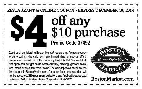 Special Coupons Printable Coupons Boston Market Free Printable Coupons