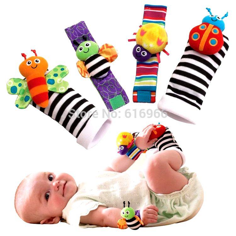 Baby Socks Rattle Toys 2016 New Garden Bug Wrist Rattle Foot Socks Multicolor