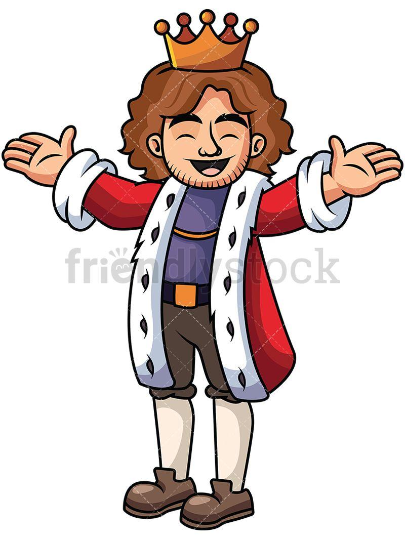 Happy King With Open Arms Vector Cartoon Clipart Friendlystock Happy King Cartoon Clip Art King Cartoon
