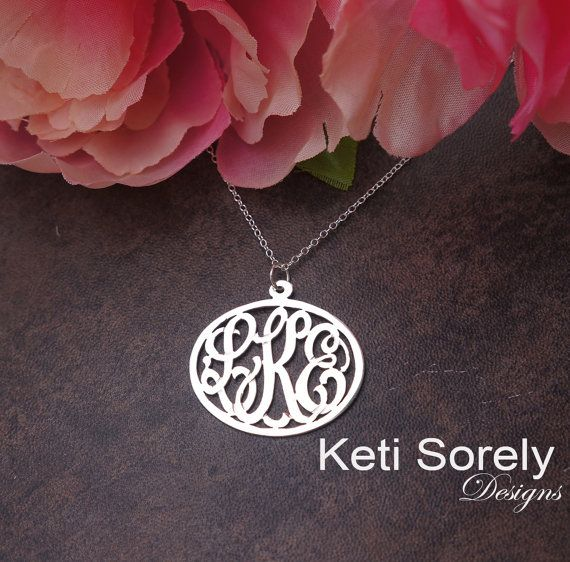 10k White Gold Handmade Oval Monogram Necklace With Etsy Monogram Charms Monogram Charm Necklace Monogram Necklace