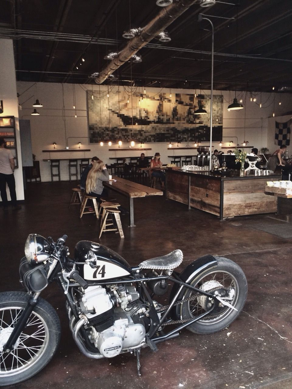 Love the idea of living in a space that you can also park your bike in eclectic home - American motorbike garage ...