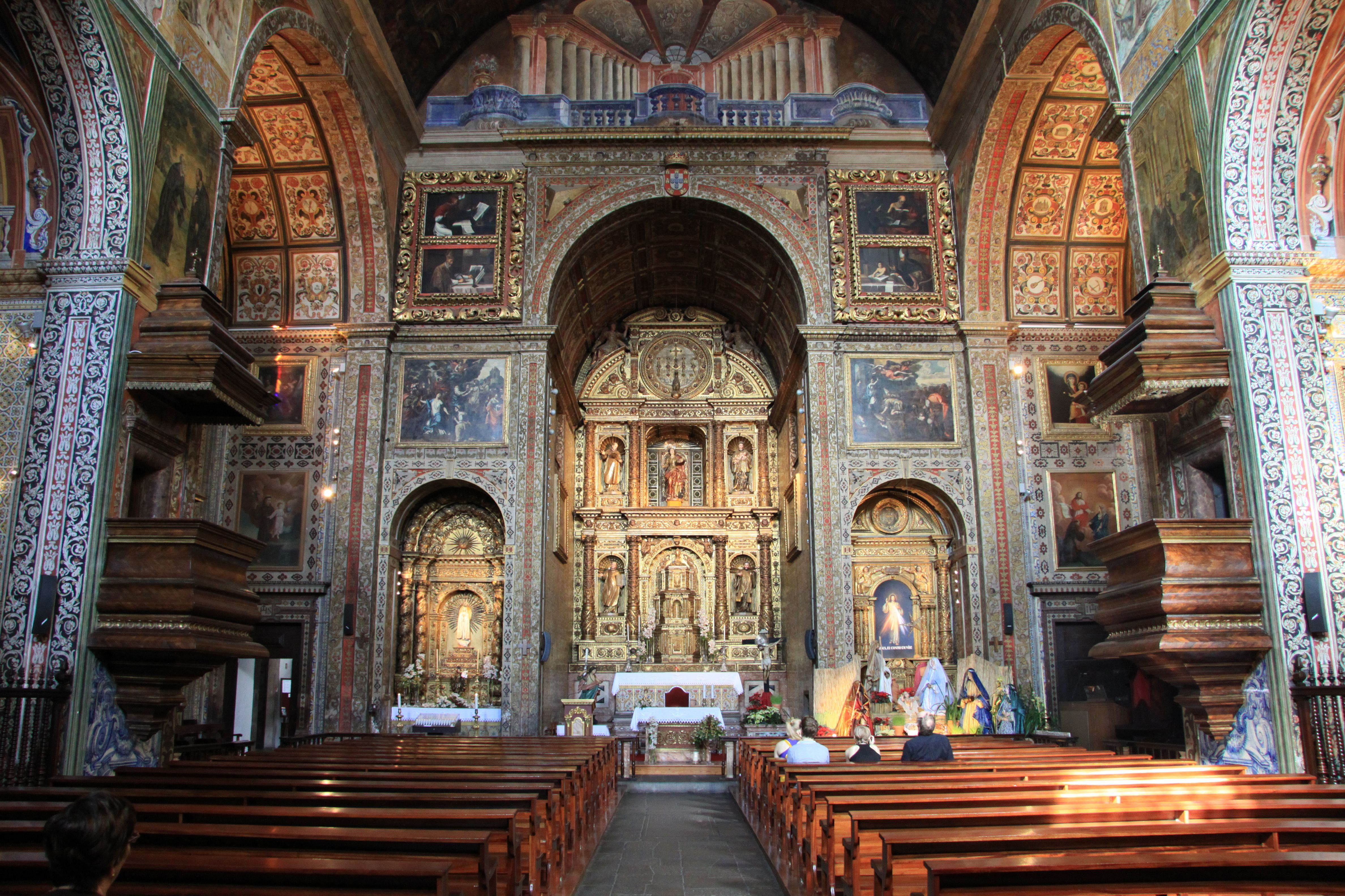 A church in Funchal on the island of Madeira, rich in wood and Portuguese design.  www.traveladept.com