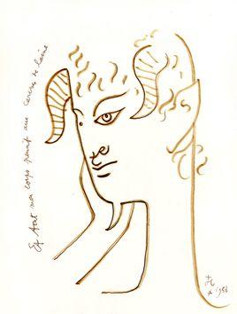 Voir Decouvrir Oeuvres Estampes De Cocteau Jean Tableau Original Dessin Au Feutre Dessin Original