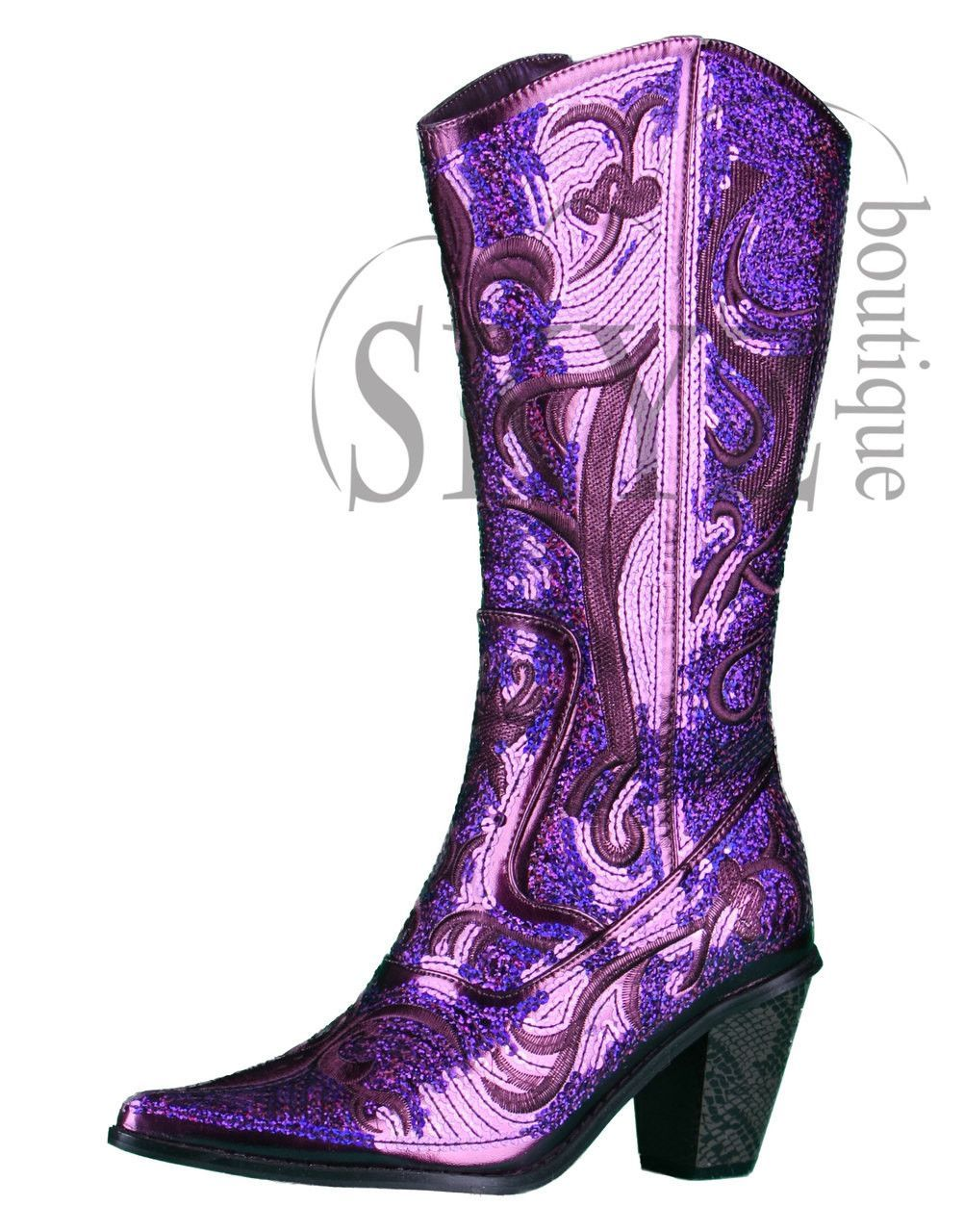 8131ba8fa9e We are dressing up the country cowgirl look with a sassy layer of sequin on  an eye catching purple color. It s a bold move