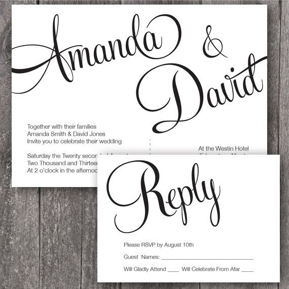 Fonts For Wedding Invites: DIY Printable Wedding Invitation And RSVP. Printable