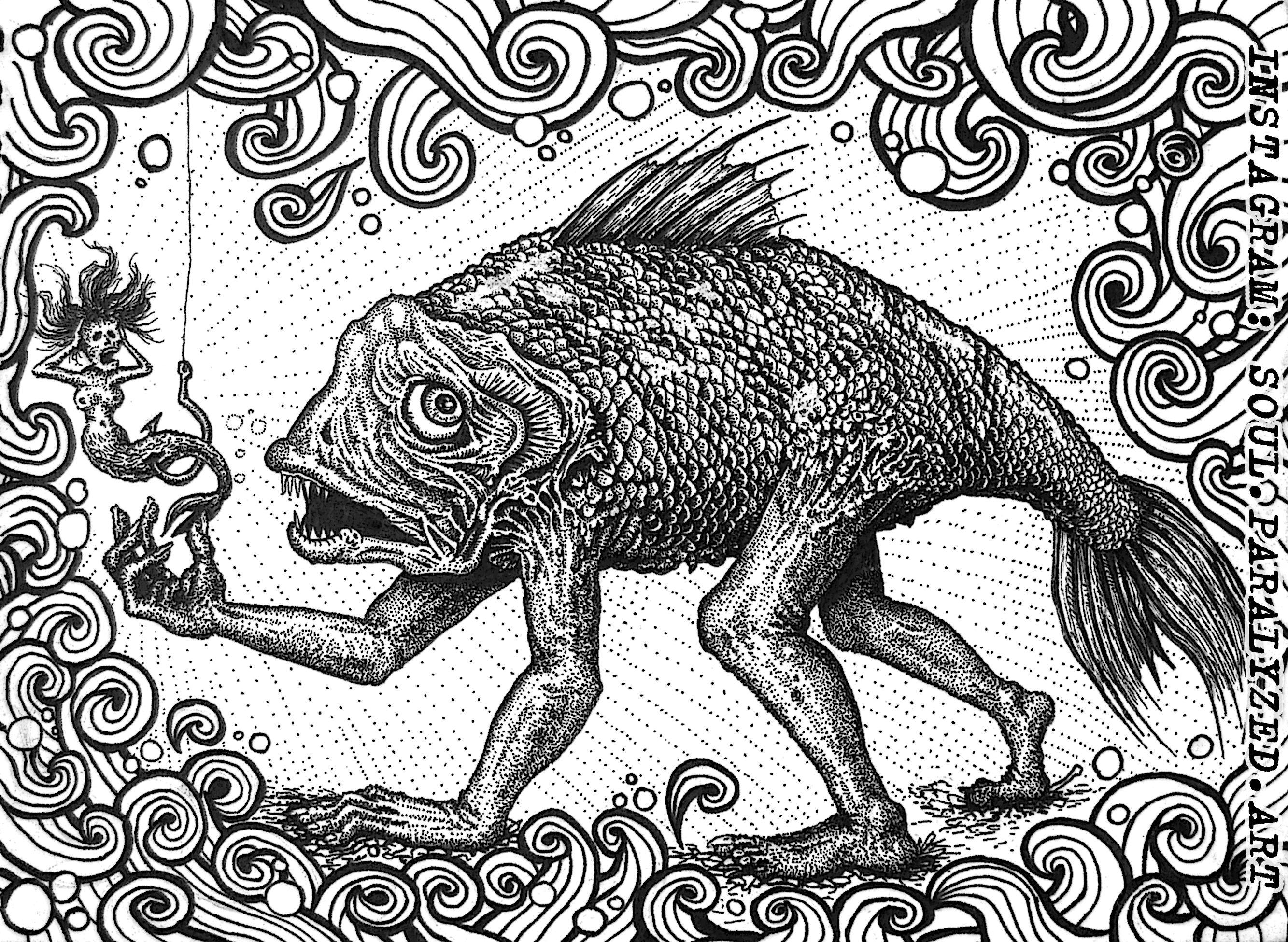 #soulparalyzed #fish #creepy #sergeizolotov #surreal #darksurrealism #lowbrowart