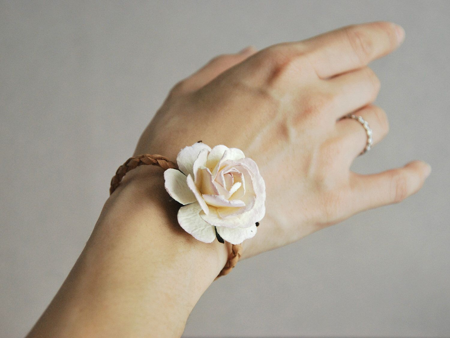 Paper Flower Corsage Floral Bracelet Made Of Dusty Pink Mulberry