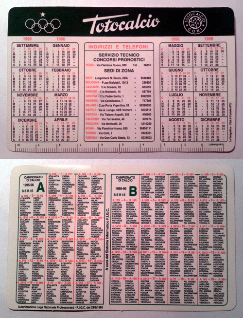 Calendarietto pubblicitario 1995/96 - Totocalcio