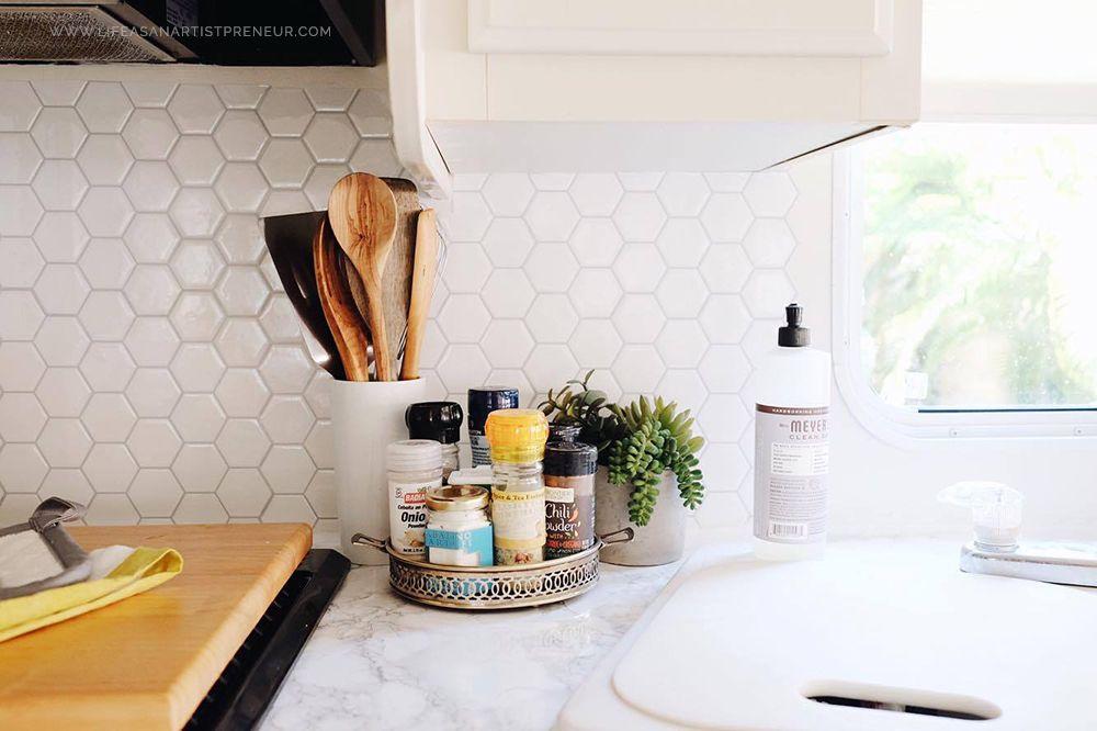 rv renovation makeover / kitchen / travel / peel n stick tile / RV ...