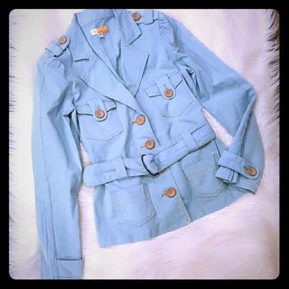 TULLE Powder Blue Jacket Light weight perfect color and weight for Spring! SIZE M Tulle Jackets & Coats Jean Jackets