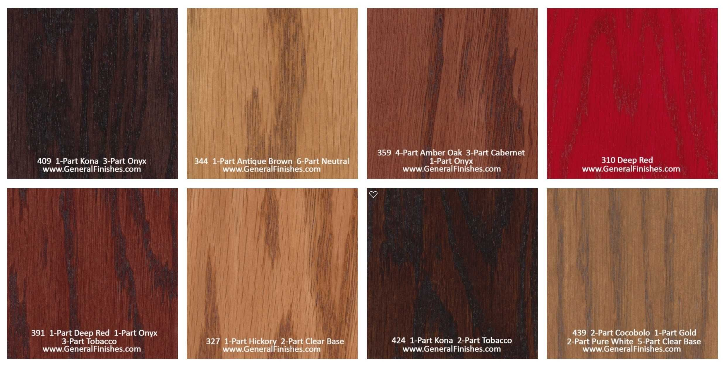 General Finishes Pro Floor Stain Color Swatch Chart For Hardwood